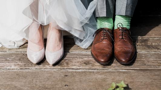 新郎新婦の足